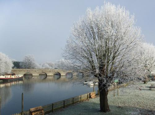 Winter view of River Avon and Clopton Bridge