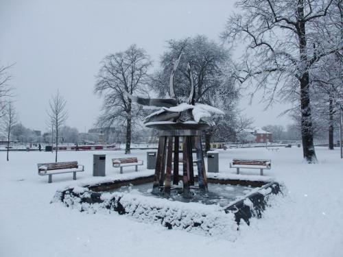 The Swan Fountain in the snow